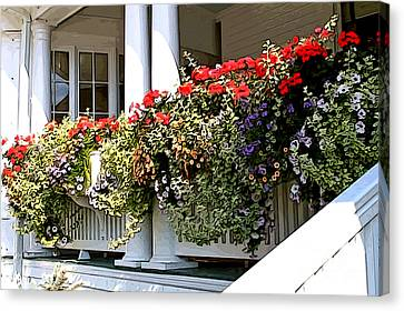 Porch Flowers Canvas Print by Anne Raczkowski