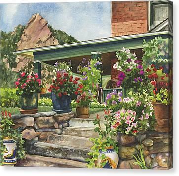 Porch Garden Canvas Print by Anne Gifford
