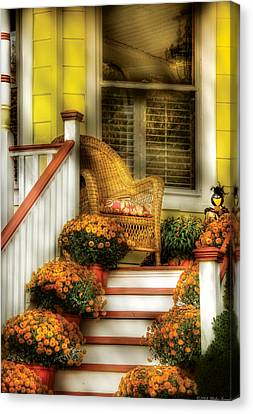 Porch - Westifeld Nj - In The Light Of Autumn Canvas Print by Mike Savad