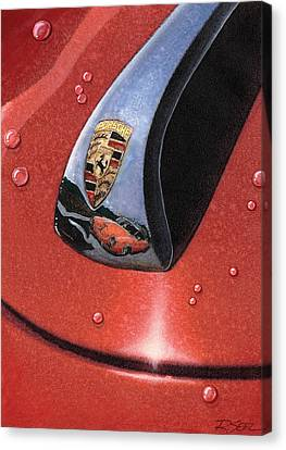 Canvas Print featuring the painting Porsche 356 Raindrops by Rod Seel
