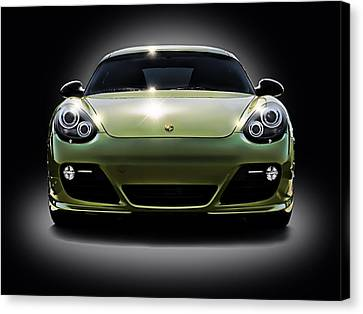 Porsche Cayman In Peridot Paint Canvas Print