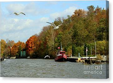 Canvas Print featuring the photograph Port Dover Harbour by Barbara McMahon