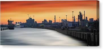 Port Of Hamburg Canvas Print by Marc Huebner