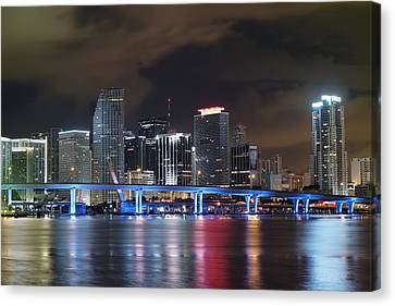 Canvas Print featuring the photograph Port Of Miami Downtown by Gary Dean Mercer Clark