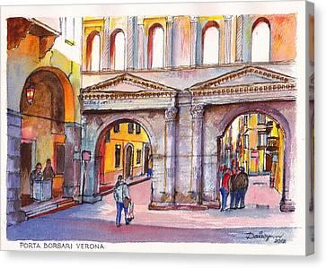 Porta Borsari Verona  First Century Ad Roman Gate Canvas Print by Dai Wynn