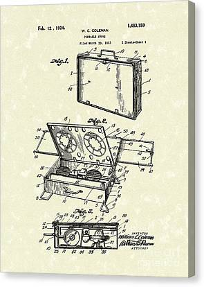 Camping Canvas Print - Portable Stove 1924 Patent Art by Prior Art Design