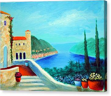 Canvas Print featuring the painting Portafino Pleasures by Larry Cirigliano