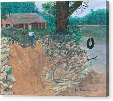 Portage River Cabin Canvas Print by Lori  Theim-Busch