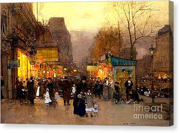Porte St Martin At Christmas Time In Paris Canvas Print
