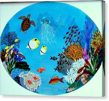 Canvas Print featuring the painting Porthole by Fram Cama