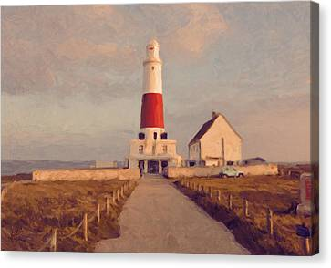 Portland Bill Lighthouse Center Canvas Print by Nop Briex