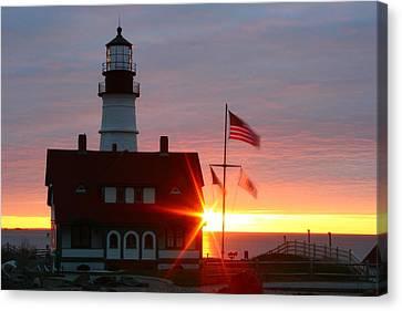 Portland Head Light At Sunrise Canvas Print by Rick  Blood