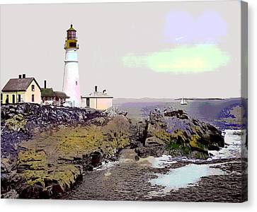 Portland Head Light Canvas Print by Charles Shoup