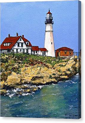 Portland Head Light House Canvas Print by Randy Sprout