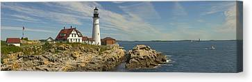 Rocky Maine Coast Canvas Print - Portland Head Light Panorama  by Mike McGlothlen