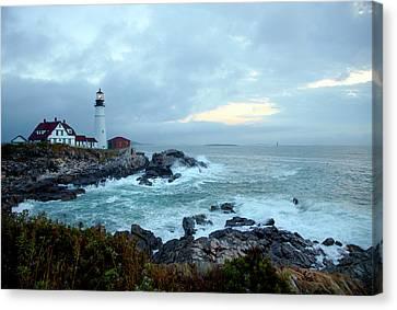 Portland Head Lighthouse At Sunrise Canvas Print by Thomas Northcut