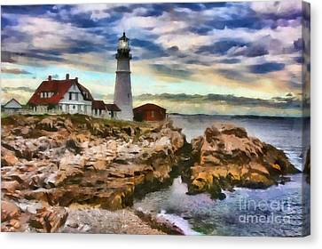 Portland Head Lighthouse In Portland Maine Canvas Print by Mary Warner
