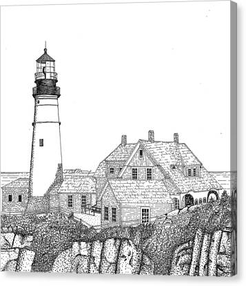 Maine Landscape Canvas Print - Portland Head Lighthouse by Tim Murray