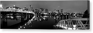Portland In Black And White Canvas Print