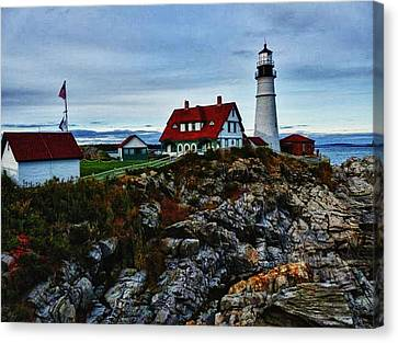 Canvas Print featuring the photograph Portland Lighthouse by Kelly Reber