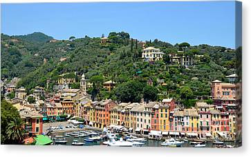 Portofino Hillside Canvas Print by Corinne Rhode