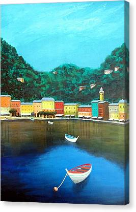Canvas Print featuring the painting Portofino by Larry Cirigliano