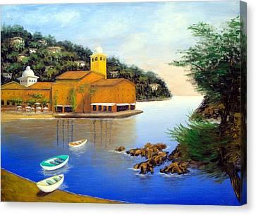Canvas Print featuring the painting Portofino Pleasures by Larry Cirigliano