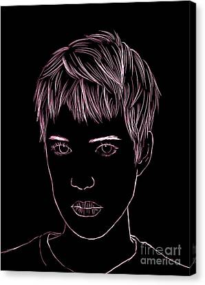 Portrait Drawing Canvas Print by Bou Lemon
