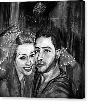 Portrait In Black And White Canvas Print by Amanda Dinan