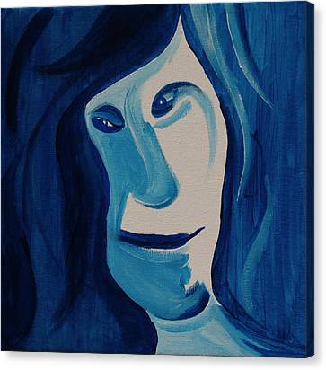 Portrait In Blue Canvas Print by Sheep McTavish