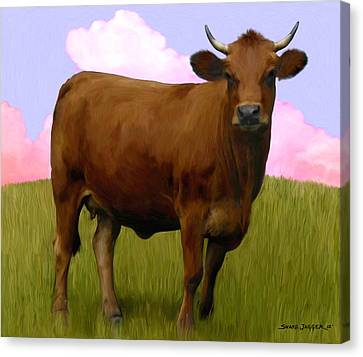 Portrait Of A Cow Canvas Print by Snake Jagger