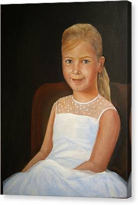 Portrait Of A Girl Canvas Print by Katalin Luczay
