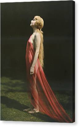 Portrait Of A Nude Woman Draped Canvas Print by Franklin Price Knott