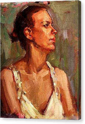 Portrait Of A Stern And Distanced Hardworking Woman In Light Summer Dress With Deep Shadows Dramatic Canvas Print