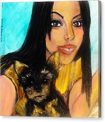 Portrait Of A Young Woman And Her Puppy 2 Canvas Print by Amanda Dinan