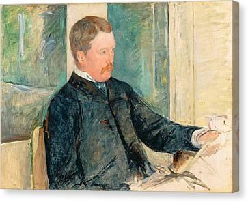 Portrait Of Alexander J. Cassatt Canvas Print by Mary Stevenson Cassatt