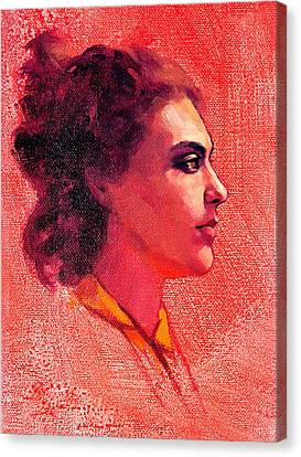 Portrait Of Alysha Canvas Print by Roz McQuillan