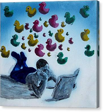 Portrait Of Boy Reading Large Book While Laying On Floor And Fantasizing About Ducks Floating Kids Canvas Print by M Zimmerman MendyZ