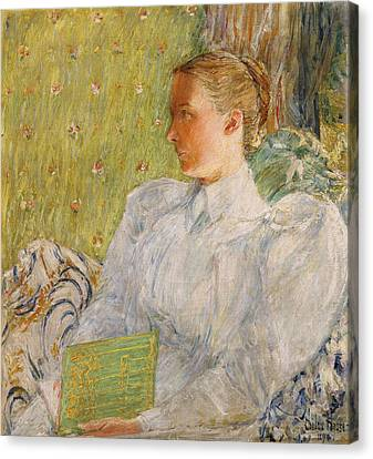 Portrait Of Edith Blaney Canvas Print by Childe Hassam