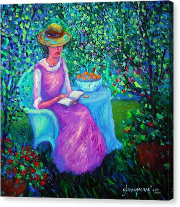 Portrait Of Ellsabeth In Her Garden Canvas Print by Glenna McRae