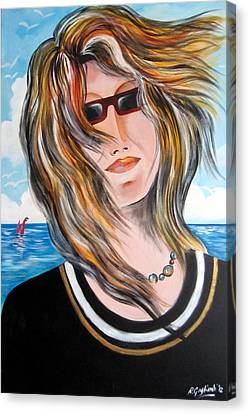 Canvas Print featuring the painting Portrait Of Goca by Roberto Gagliardi