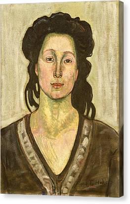 Portrait Of Jeanne Cerani Canvas Print by  Ferdinand Hodler