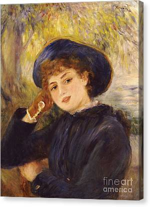 Portrait Of Mademoiselle Demarsy Canvas Print by Pierre Auguste Renoir