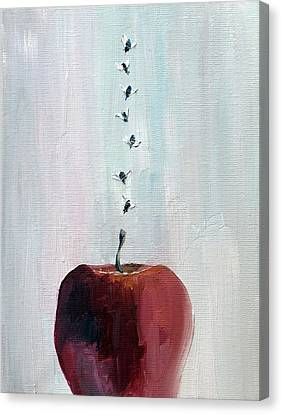 Portrait Of Seven Flies Flying Over An Apple Canvas Print by Fabrizio Cassetta
