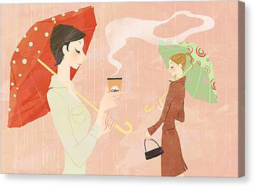 Portrait Of Young Woman In The Rain Holding Umbrella And A Takeaway Coffee Canvas Print by Eastnine Inc.