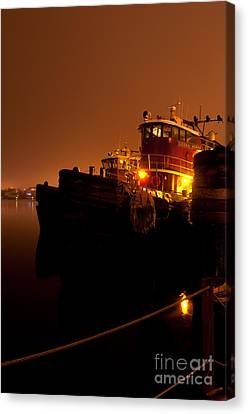 Portsmouth Tugs 1st Night Canvas Print by Sharon Seaward