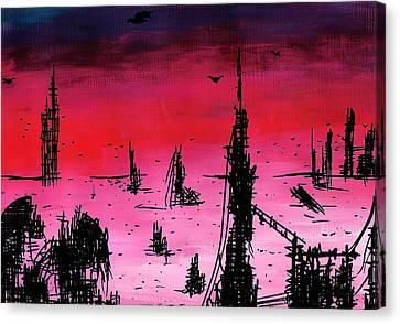 Post Apocalyptic Desolate Skyline Canvas Print by Jera Sky