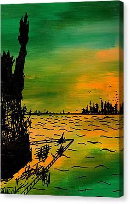 Post Apocalyptic New York Skyline Canvas Print by Jera Sky