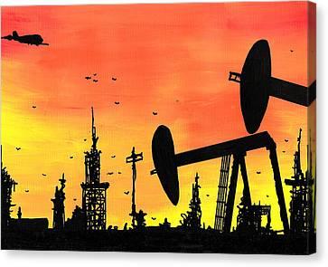 Post Apocalyptic Oil Skyline Canvas Print by Jera Sky