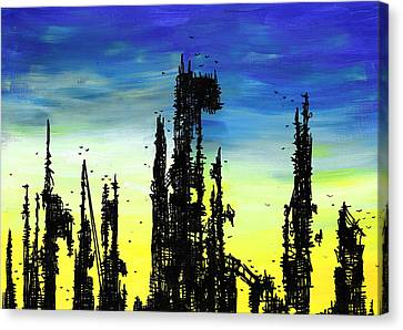 Post Apocalyptic Skyline 2 Canvas Print by Jera Sky